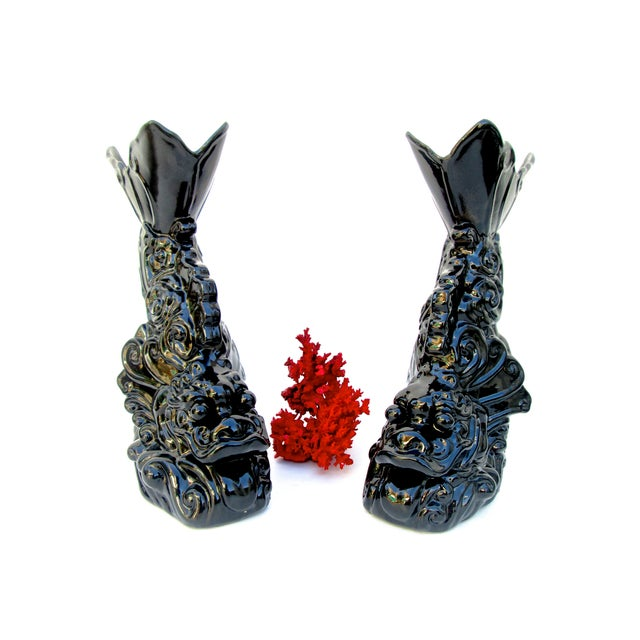 Asian Dragon Koi Figural Vases - A Pair - Image 6 of 10
