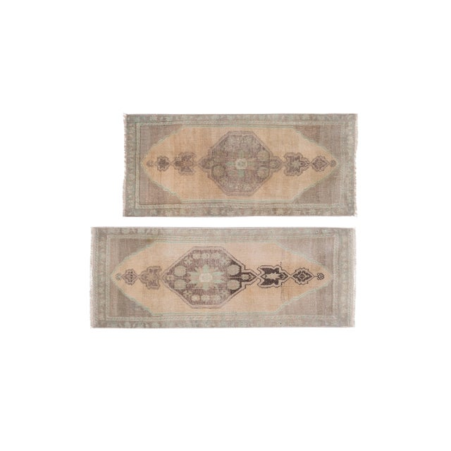 """Mid-Century Modern Distressed Small Turkish Oushak Rug - a Pair 19"""" X 42"""" For Sale - Image 3 of 10"""