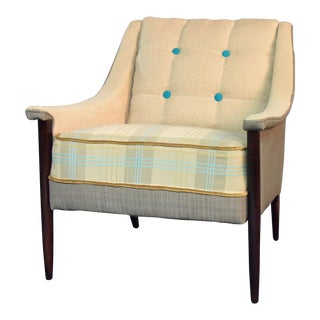 1950s Vintage Ivory & Blue Side Chair For Sale