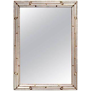 Large Rectangular Italian Carved Giltwood Mirror For Sale