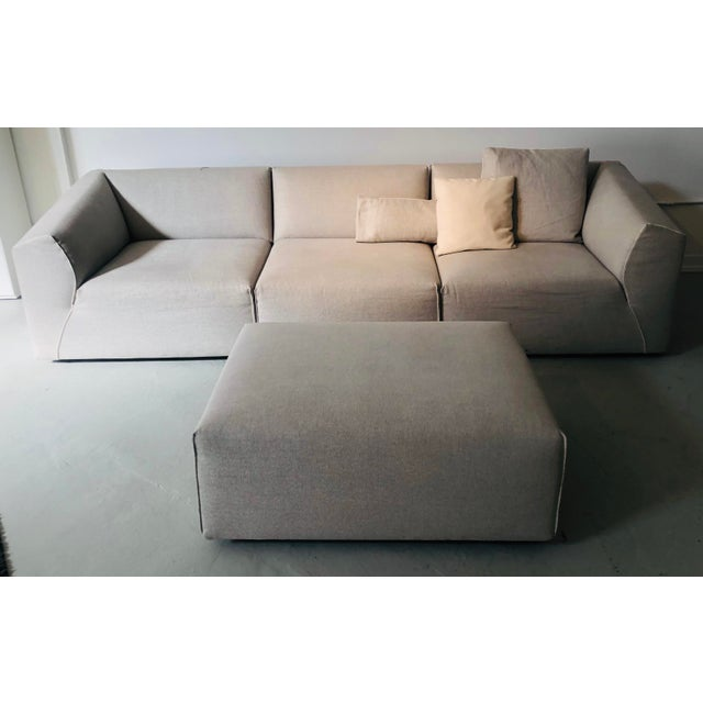 White Modern Modular Sofa and Ottoman Light Grey and White Piping by Mdf Italia For Sale - Image 8 of 12