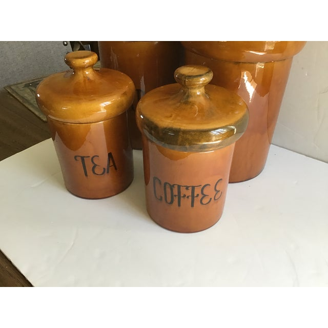 French Country Rustic Pottery Canister McCoy Flour Coffee Set - 4 Pieces For Sale - Image 3 of 9
