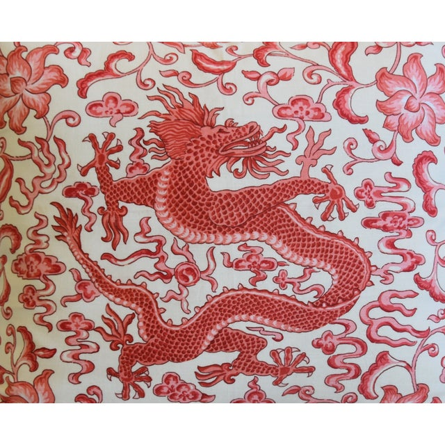 "Abstract Italian Chinoiserie Scalamandre Dragon Feather/Down Pillow 26"" X 22"" For Sale - Image 3 of 8"