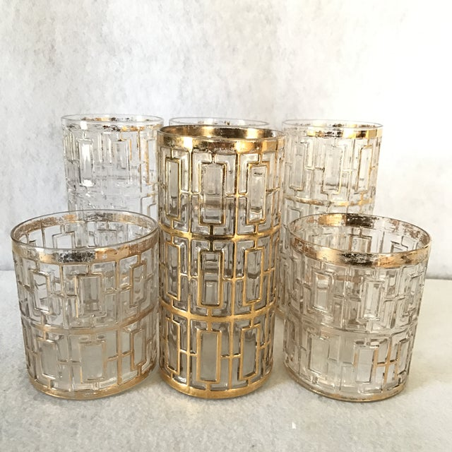 Authentic collection of three tall and three short tumbler glasses with Imperial glass stamp. 22 karat gold has worn off...