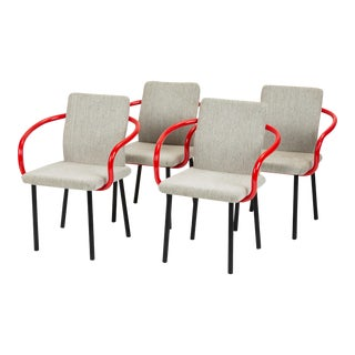 Set of Four Mandarin Chairs With Red Arms by Ettore Sottsass for Knoll For Sale