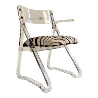 Lucite Desk Chair in Zebra Hide For Sale