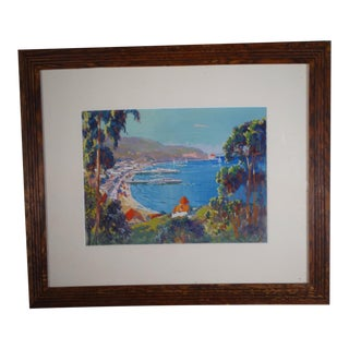 """Early 20th Century """"View of Avalon, Catalina Island"""" Gouache Painting by Thomas Hill McKay, Framed For Sale"""
