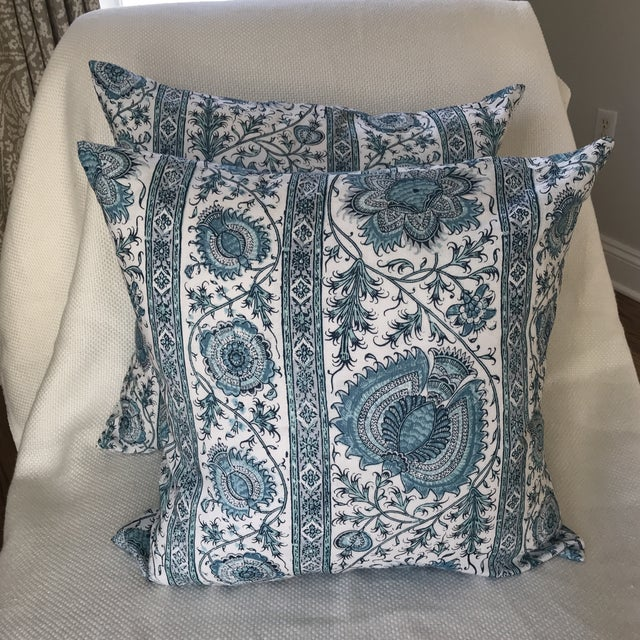 "Quadrille China Seas Linen ""Palampore"" Stripe Pillow Covers- Pair For Sale - Image 4 of 7"
