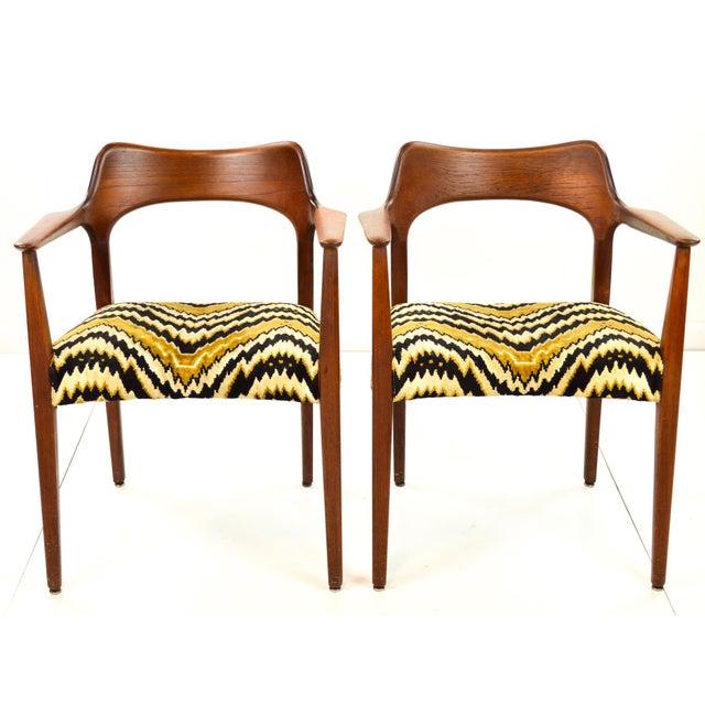 Mid-Century Modern Danish Teak Arm Chairs - A Pair - Image 2 of 10