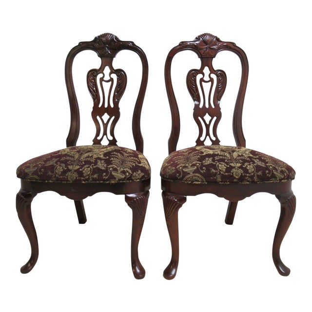 Thomasville Solid Mahogany Chippendale Dining Chairs - A Pair For Sale