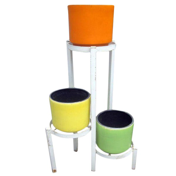 Modernist Plant Stand + California Pot Set Planter - Image 1 of 6