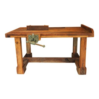 European Solid Cherry Workbench With Antique Vice For Sale