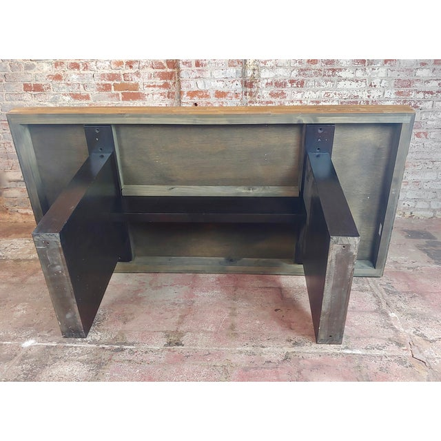 Vintage Butcher Block Style Dining Table W/Ebonized Base For Sale - Image 9 of 10