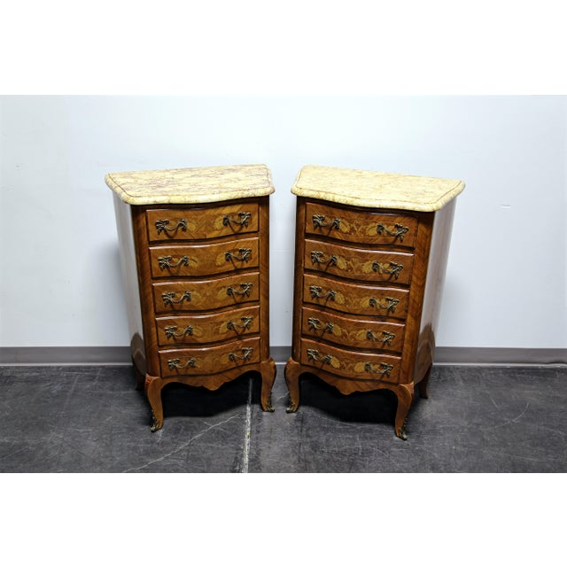 Stunning pair of antique lingerie chests, made in France during the late 19th - early 20th Century. Constructed of...