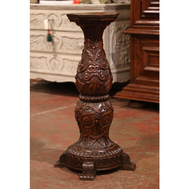 This elegant antique pedestal was crafted in northern France, circa 1870. Round in shape and made of walnut, the heavily...
