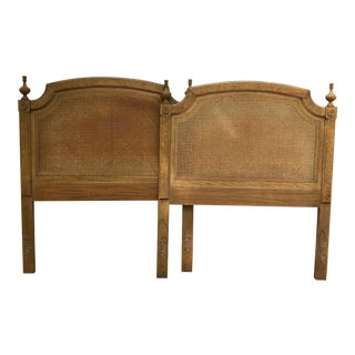 Vintage Caned Twin Headboards - a Pair For Sale