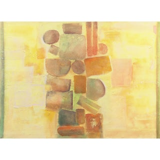 'Construction in Saffron and Tourmaline' by Remy Aron, 1970; French Geometric Abstraction, Los Robles For Sale