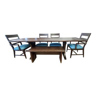 Thomasville Ellen Degeneres Coldwater Canyon Dark Oak Farmhouse Trestle Table Dining Set With Bench For Sale