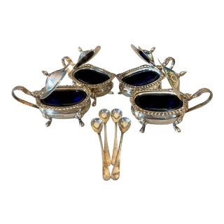 Antique English Lidded Sterling Silver and Cobalt Glass Salt & Pepper Cellars With Spoons - Set of 4 For Sale