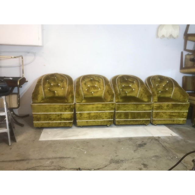 1970s Milo Baughman Green Club Chairs on brass casters. Set of 4. I will shop for the best shipping rates and delegate...