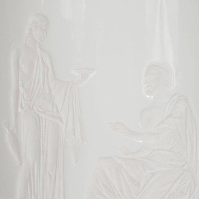 French Art Deco White Glass Table Lamp and Uplight with Greco Roman Figures For Sale In New York - Image 6 of 11
