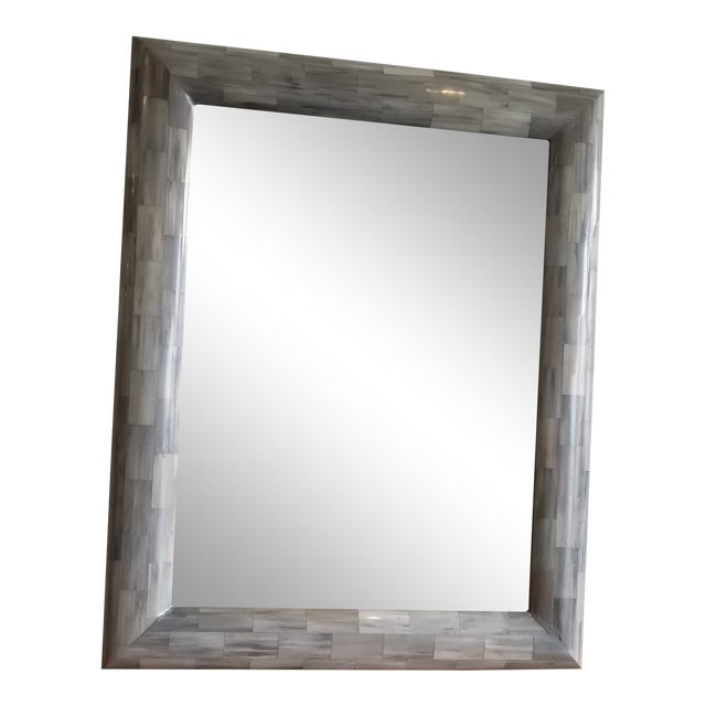 Contemporary Light Grey Faux Horn Mirror For Sale