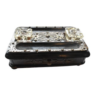 Antique Mahogany Ink Well Writing Box With Brass Applique For Sale