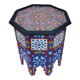 Moroccan Hexagonal Wooden Side Table - 6lm24 For Sale