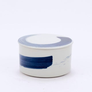 Asian Modern Brushstroke Detailed Porcelain Lidded Jar - Small Preview