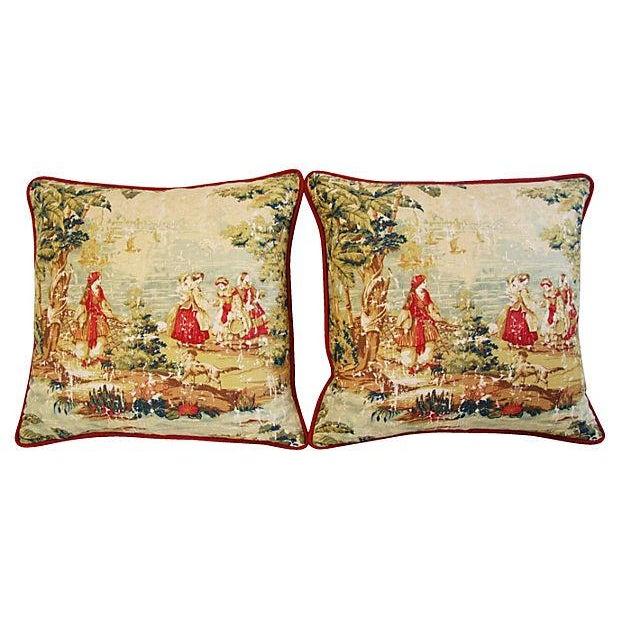 Designer Renaissance Toile Linen Pillows - A Pair - Image 8 of 8