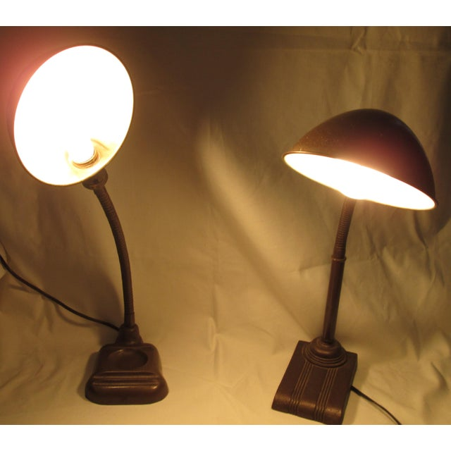 Fortune and Leviton Gooseneck Industrial Table Lamps - A Pair | Chairish