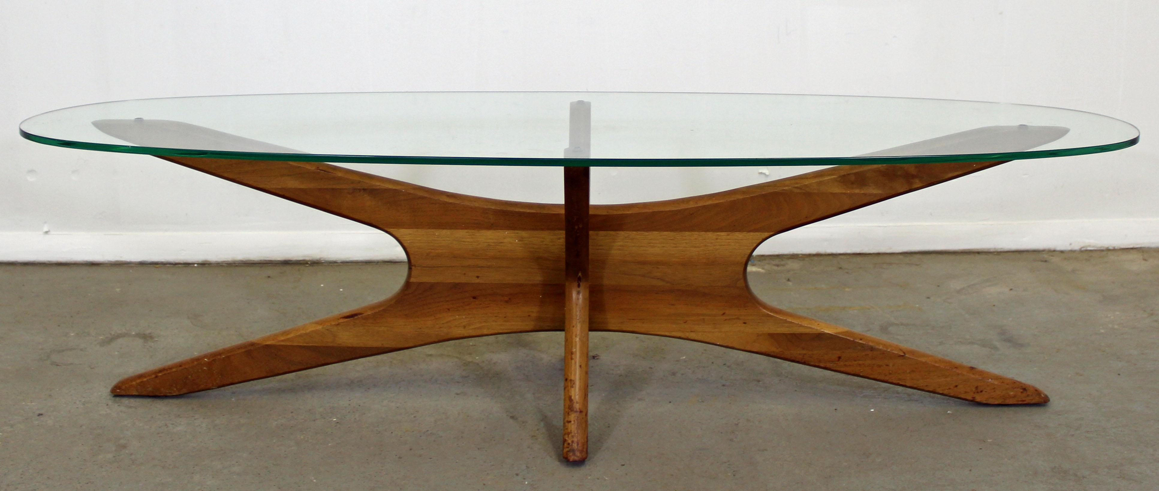 Mid Century Danish Modern Adrian Pearsall U0027Jacksu0027 Glass Top Coffee Table  For Sale