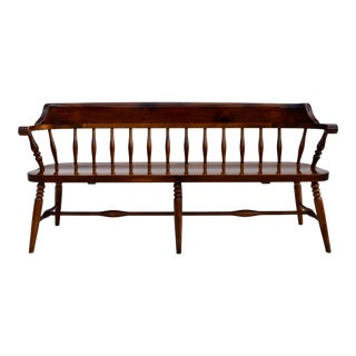 Farmhouse Pine Spindle Back Dining Bench For Sale