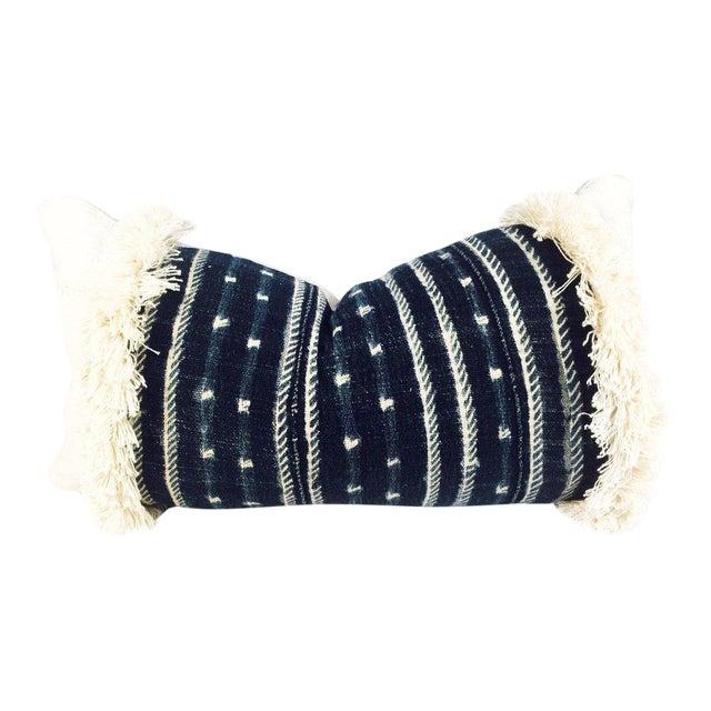 Fringe Mixed Indigo Blue African Mudcloth Small Lumbar Pillow For Sale