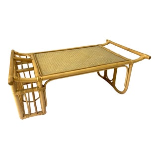 Vintage Rattan Bamboo Breakfast in Bed Serving Tray For Sale