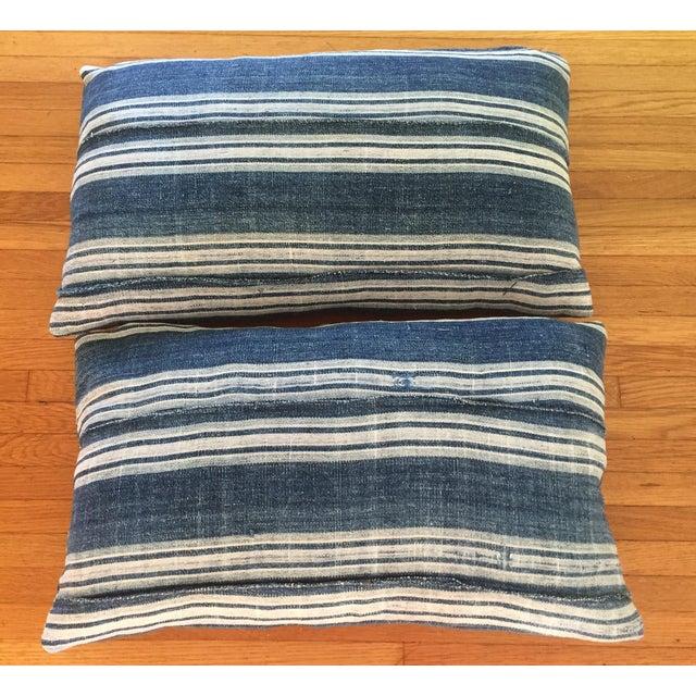 Vintage African Indigo Mud Cloth Pillows - A Pair - Image 4 of 8