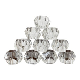 Lucite Acrylic Faceted Napkin Rings - Set of 10 For Sale