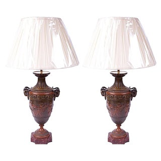 Pair of Early 19th Century French Empire Neoclassical Bronze Urns Wired as Lamps For Sale
