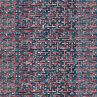 Ferran Ming Fret Fabric, Sample, Navy in Belgian Linen For Sale