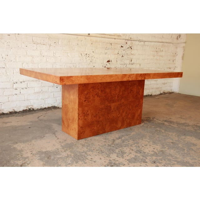 Milo Baughman Burled Olive Wood Pedestal Dining Table - Image 9 of 11