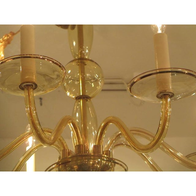 Eight Arms Amber-Colored Murano Glass Chandelier For Sale - Image 4 of 7