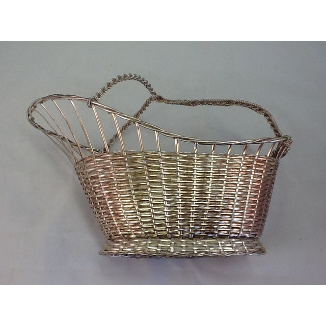 1970s Silver Plate Woven Wine Bottle Basket - Image 4 of 6
