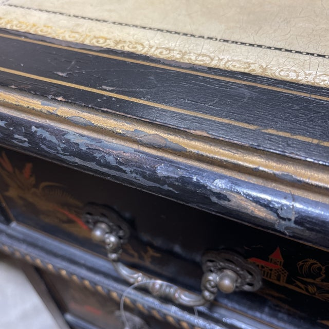 Black Chinoiserie Leather Too Writing Desk For Sale - Image 8 of 13