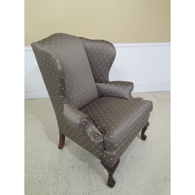 Ethan Allen 1990s Vintage Ethan Allen Ball & Claw Mahogany Wing Chairs- A Pair For Sale - Image 4 of 11