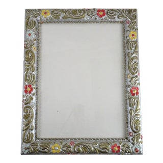 Antique Carved Silver Floral Picture Frame
