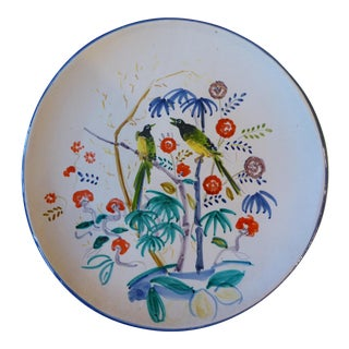 Italian Hand Painted Parrot Tropical Wall Plate For Sale