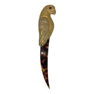 Vintage Brass and Tortoise-Look Parrot Letter Opener