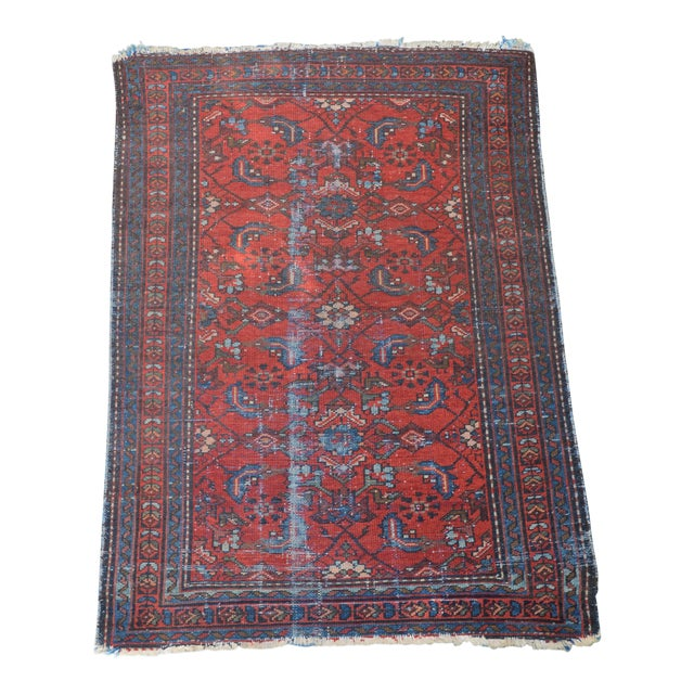 """Antique Hand Knotted Persian Floral Design Rug - 3'6"""" X 4'8"""" For Sale"""