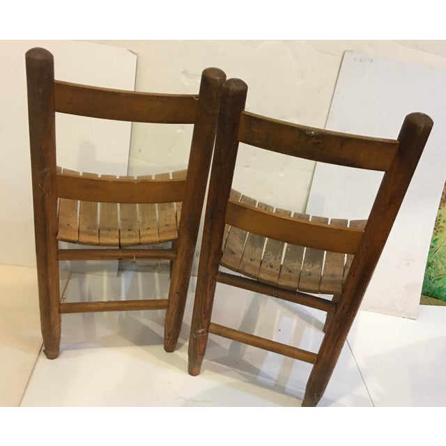 Vintage Rustic Children Chairs - a Pair For Sale In New York - Image 6 of 8