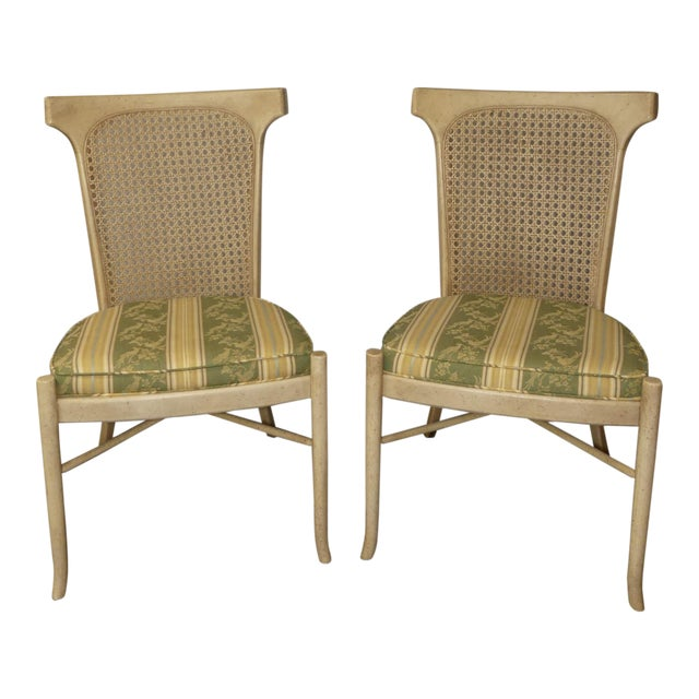 1980s Vintage Caned Back Dining Side Chairs A Pair Chairish